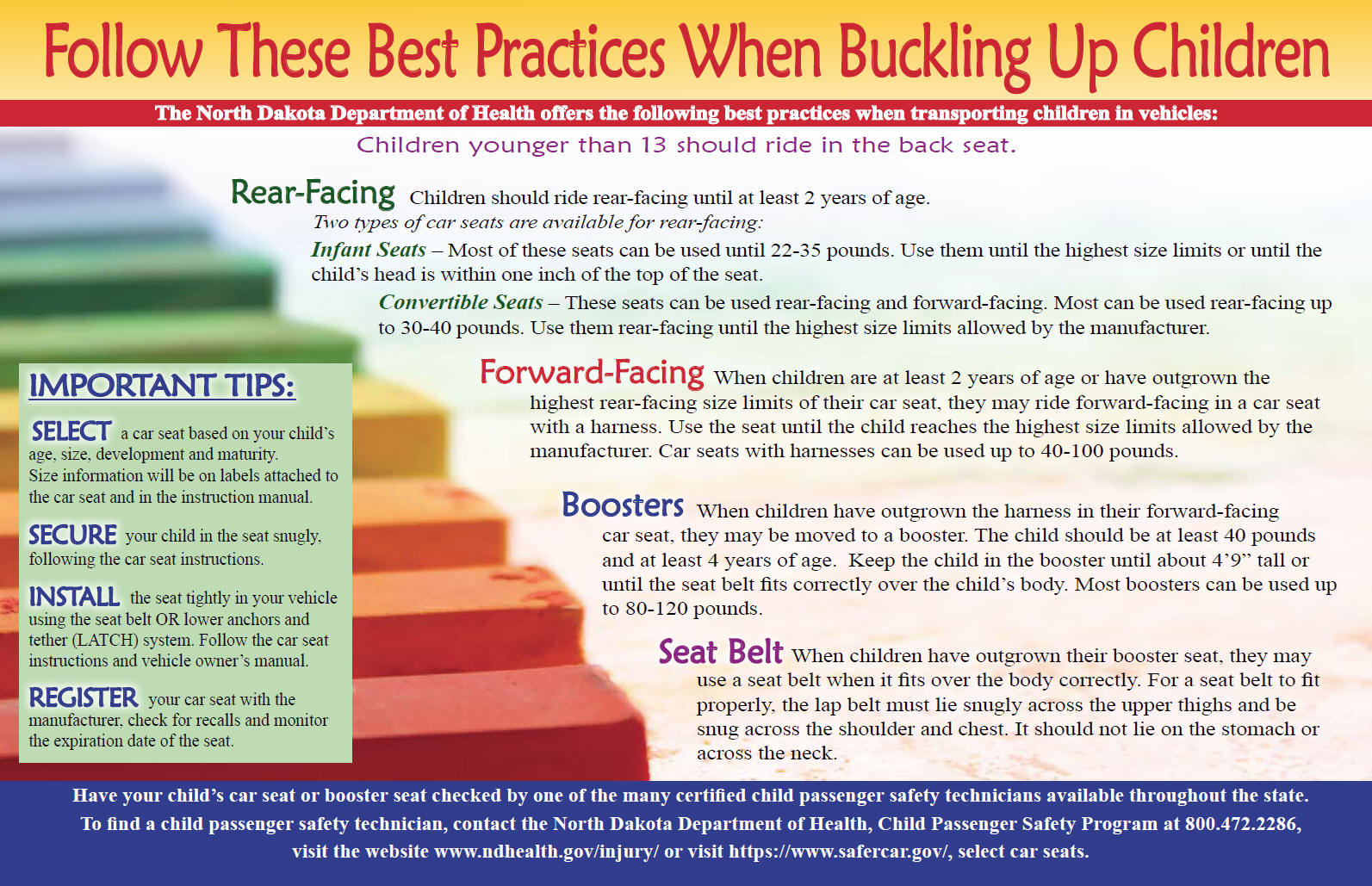 ND Child Passenger Safety Law And Best Practices Materials Poster 11x17